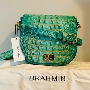 Brahmin Mini Sonny Turquoise Melbourne Leather Bag